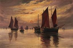 Sale 9125 - Lot 613 - L E Anthony Ships at Dusk, 1917 oil on canvas 40 x 60 cm (frame: 54 x 74 x 4 cm) signed and dated lower left