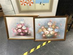 Sale 9172 - Lot 2084 - Artist Unknown (two works), Floral Still Life oil on boards, frame: 51 x 66 cm, one signed -
