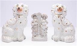 Sale 9185E - Lot 107 - A pair of Staffordshire ceramic dogs, Height 25cm, together with a figural group