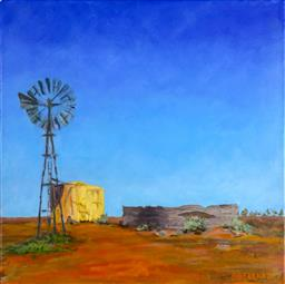 Sale 9210A - Lot 5039 - DEBORAH DONOHUE Windmill and Tank, NSW acrylic on canvas 35.5 x 35.5 cm (unframed) signed