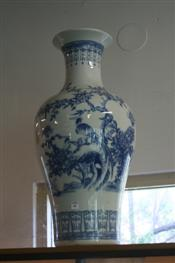 Sale 7856 - Lot 83 - Large Blue and White Chinese vase hand painted with a bird amongst flowering foliage. Height 69cm
