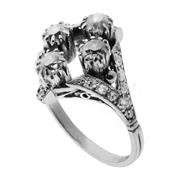 Sale 8087B - Lot 386 - AN 18CT WHITE GOLD VINTAGE DIAMOND RING; set with 4 Old Mine Cut diamonds totalling an estimated 0.85ct, SI adjacent to 18 old round...