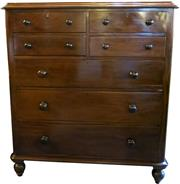Sale 8258A - Lot 75 - Victorian Australian cedar chest of drawers in good condition, circa 1880, RRP $2950, W 115 x D 51 x H 129 cm