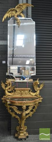Sale 8291 - Lot 1011 - Impressive Late 19th Century Gilt Gesso Dragon Mirror & Console Table, the shaped mirror plate (some chips) with overhanging dragon,...