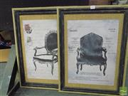 Sale 8407T - Lot 2025 - Pair of Framed Decorative Antique Chair Prints