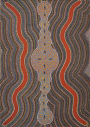 Sale 8576A - Lot 5049 - Ronnie McNamarra (1942 - ) - Anung, c1986 (The worm dreaming) 123 x 88cm (stretched & ready to hang)
