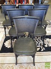 Sale 8440 - Lot 1039 - Set of Six Black Rattan Back Provincial Chairs