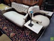 Sale 8554 - Lot 1030 - Carved Edwardian Style Two Seater Settee & Similar Tub Chair with Button Back Cream Upholstery (2)