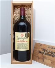 Sale 8595A - Lot 75 - A 1977 Bin 56 Cabernet Malbec ''My First Leasingham Vintage, I Hope you remember it as much as I do'', 6 litre bottle