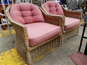 Sale 8740 - Lot 1248 - Pair of Wicker Armchairs with Cushions