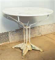 Sale 8745A - Lot 60 - An Antique French Cast Iron Base With Marble Top Garden Table, 90 x 80 cm Tall