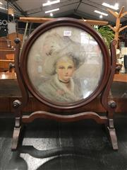 Sale 8774 - Lot 1037 - Georgian Style Mahogany Toilet Mirror Now with Portrait, of a lady with hat in a round frame & on a shaped stand