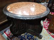 Sale 8774 - Lot 1043 - French Carved Oak Round Occasional Table, with rouge marble top, the scrolled supports with paw feet (parts in office)