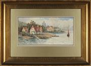 Sale 8945 - Lot 2026 - Frederick Flockton (1854 - 1909) River Thames near Pangbourne, Berkshire watercolour, 17 x 35cm, signed lower left -
