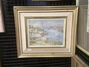 Sale 9091 - Lot 2013 - Artist Unknown Berrys Bay c1930s watercolour 38 x 45cm (frame) initialled WHM lower left and inscribed