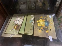 Sale 9101 - Lot 2086 - Set of five oil on timber boards by L Wong