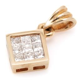 Sale 9132 - Lot 393 - A GOLD DIAMOND PENDANT; square form invisible set with 9 princess cut diamonds totalling aprox. 0.27ct, size 6. x 6.5mm, tests 16ct...