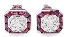 Sale 9213 - Lot 397 - A PAIR OF DECO STYLE RUBY AND DIAMOND STUD EARRINGS; each set in 18ct white gold with a cluster of 9 round brilliant cut diamonds to...