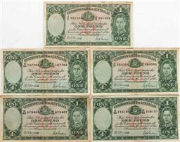 Sale 9175 - Lot 93 - A Set of Five Commonwealth of Australian One Pound Notes