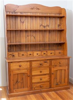 Sale 9190H - Lot 425 - A pine dresser with three shelves above an abundance of drawers and two doors, by Bowral's country touch, Height 217cm x Width 162cm..