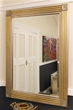 Sale 9248H - Lot 117 - A Timber framed mirror hand painted in silver and gold highlights 80x 110cm