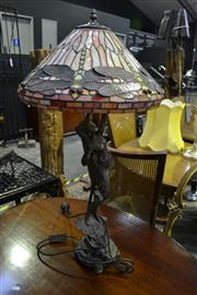 Sale 8127 - Lot 832 - A Bronze Style Lady Figure Table Lamp with Leadlight Shade