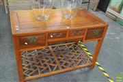 Sale 8255 - Lot 1025 - Chinese Elm Desk, with three drawers & latticed lower tier. (Certificate of purchase in office)