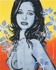 Sale 8475 - Lot 537 - David Bromley (1960 - ) - Gillian with Flowers 77 x 55cm