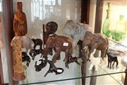 Sale 8351 - Lot 96 - Timber Carved Chinese Figures & Others incl  Elephants