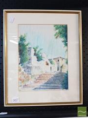 Sale 8478 - Lot 2077 - Framed Pastel & Acrylic of a Stairway Scene, signed & Dated LL