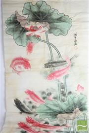 Sale 8496 - Lot 20 - Boxed Chinese Work On Paper Featuring Carp