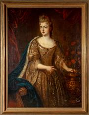 Sale 8568A - Lot 46 - Artist Unknown XVIII - Portrait of a Noble Lady with Carnation and Vase 148 x 116cm (including frame)