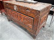 Sale 8697 - Lot 1044 - Carved Blanket Box (H: 62 W: 104 D: 53cm)