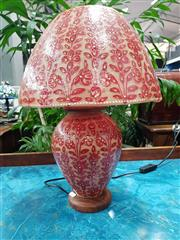 Sale 8744 - Lot 1035 - Red Floral Decoration Table Lamp
