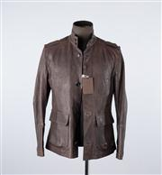 Sale 8770F - Lot 10 - A brand-new (with tags) mens Louis Vuitton dark brown deerskin leather jacket, made in Italy, size 48