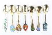 Sale 8823 - Lot 28 - Anton Michelsen Series Of Sterling Silver And Enamelled Christmas Spoons