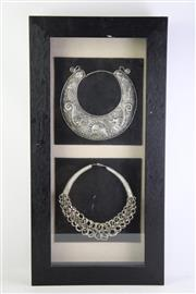 Sale 8835 - Lot 53 - Framed & Mounted Pair of Thai Necklaces
