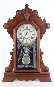 Sale 8944T - Lot 692 - Timber cased mantle clock with key and pendulum (H56cm)