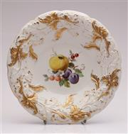 Sale 9044 - Lot 54 - An Early 20th Century Meissen Dish Decorated With Fruit And Gilt Floral Surrounds Dia 25cm