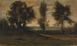 Sale 9161 - Lot 524 - CAMILLE JEAN-BAPTISTE COROT (1796 - 1875) - Untitled (Figures travelling through the country side) 30 x 49.5 cm (frame: 47 x 67 x 5...