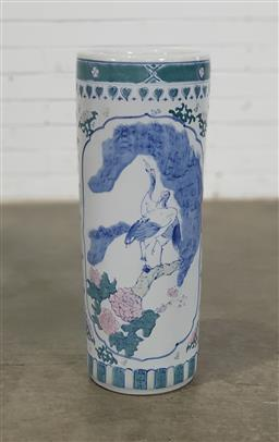 Sale 9166 - Lot 1055 - Chinese porcelain blue & white stick stand featuring cranes (h:62 dia:23cm)