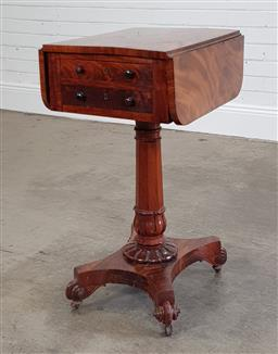 Sale 9215 - Lot 1074 - Small William IV Mahogany Drop-Leave Table, having two drawers, raised on a leaf carved octagonal pedestal, on a quadraform base wit...