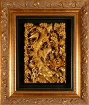 Sale 8000 - Lot 325 - A framed Chinese gilt wood carving depicting cranes amongst pine trees.