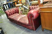 Sale 7987A - Lot 1130 - Burgundy Chesterfield 3 Seater Lounge