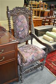 Sale 8093 - Lot 1763 - 17th Century Style Carved Oak Court Chair