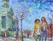 Sale 8394 - Lot 552 - Victor (Vic) OConnor (1918 - 2010) - The Promenade near Fitzroy Town Hall 59.5 x 74.5cm