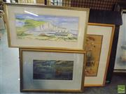 Sale 8518 - Lot 2030 - Framed Artworks incl Marilyn Dewar Coastguard Cottages, (3)