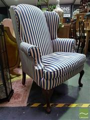Sale 8545 - Lot 1022 - Pair of Connoisseur Wingback Armchairs (055007, 055008)