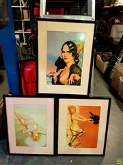 Sale 8631 - Lot 2085 - 3 Framed Prints by Vargas 1950