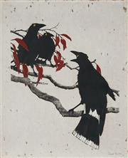 Sale 8867A - Lot 5005 - David Preston (1948 - ) - Currawongs 60 x 50.5cm
